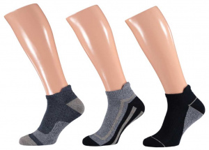 Apollo casual sports socks cotton blue/grey 3 pairs