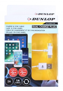 Dunlop datakabel USB 2A / Micro-USB / Type-C Dual wit 100 cm