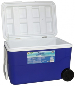 Gerimport coolbox with wheels 50 litres 64 x 42 cm blue/white