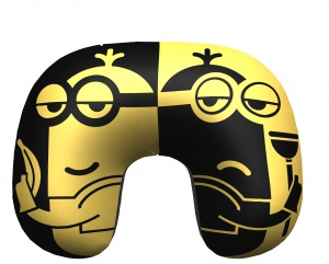 Universal inflatable neck cushion Minons 28 cm yellow/black