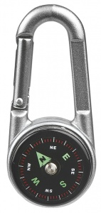 Moses Karabiner mit Thermometer Kompass 7 cm Silber