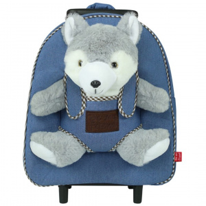 Perletti trolley Harry Husky junior 28 cm pluche/denim 3-delig