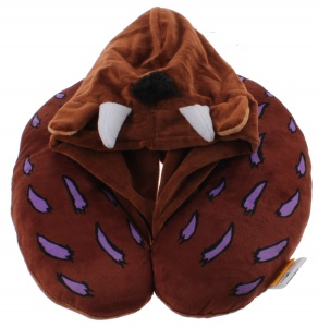Kamparo neck cushion with hoody 28 x 30 cm polyester brown
