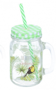 TOM mason jar groen vogel 130 ml