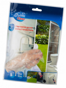 Lifetime Clean disposable gloves polyethylene one size 100 pieces