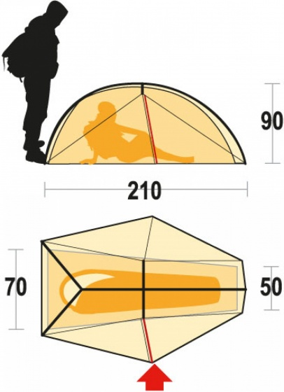 Ferrino nemesi 1 person green tent 210 x 70 x 90 cm